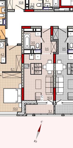 Микрорайон «Центральный», корпус 17, секция 1, квартира 25,0 м2