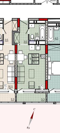 Микрорайон «Центральный», корпус 8, секция 1, квартира 25,1 м2, вариант 3