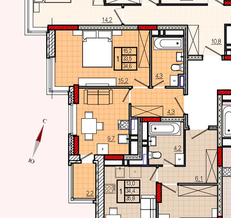 Микрорайон «Центральный», корпус 8, секция 1, квартира 34,6 м2