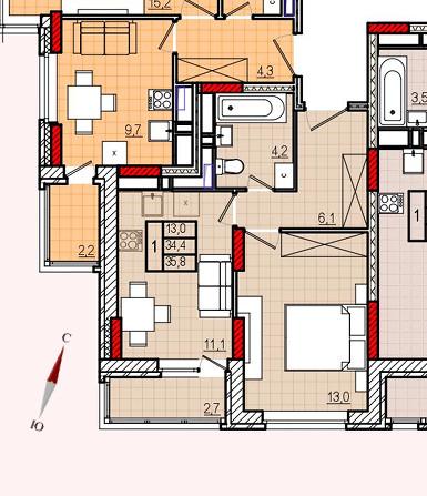 Микрорайон «Центральный», корпус 17, секция 1, квартира 35,8 м2