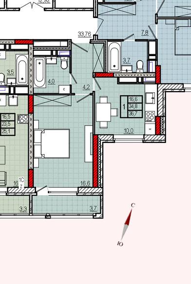 Микрорайон «Центральный», корпус 17, секция 1, квартира 36,7 м2