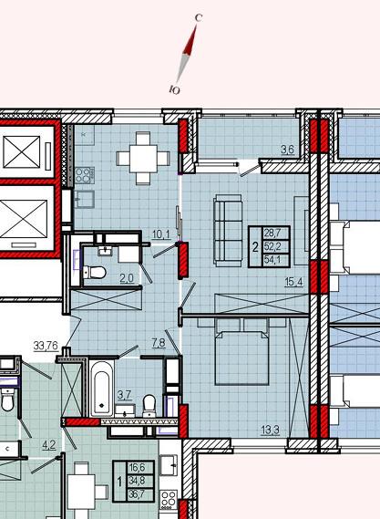 Микрорайон «Центральный», корпус 18, секция 1, квартира 54,1 м2