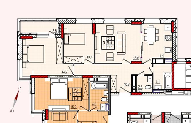Микрорайон «Центральный», корпус 17, секция 1, квартира 68,7 м2