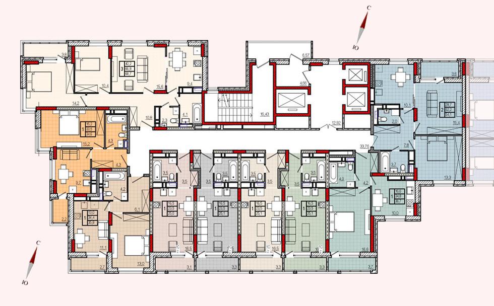 Микрорайон «Центральный», корпус 17, секция 1, этажи 2-19