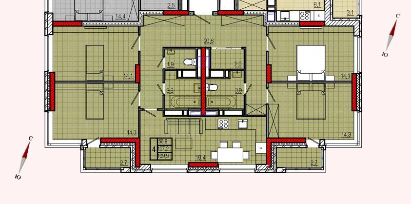 Микрорайон «Центральный», корпус 18, секция 2, квартира 109,9 м2