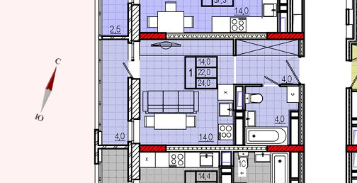 Микрорайон «Центральный», корпус 18, секция 2, квартира 24,0 м2
