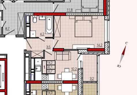 Микрорайон «Центральный», корпус 8, секция 2, квартира 33,7 м2