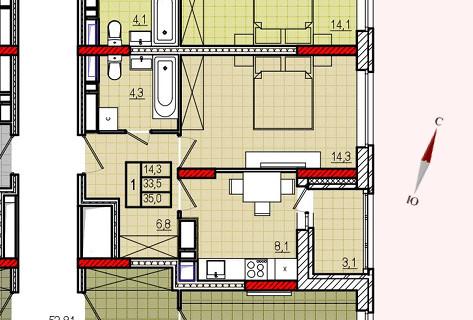 Микрорайон «Центральный», корпус 17, секция 2, квартира 35,0 м2