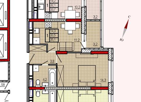 Микрорайон «Центральный», корпус 8, секция 2, квартира 35,1 м2