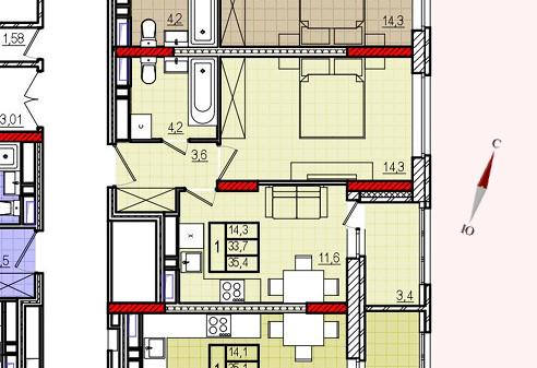 Микрорайон «Центральный», корпус 18, секция 2, квартира 35,4 м2
