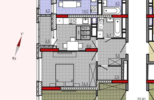 Микрорайон «Центральный», корпус 18, секция 2, квартира 36,3 м2