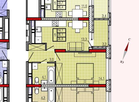 Микрорайон «Центральный», корпус 8, секция 2, квартира 36,8 м2
