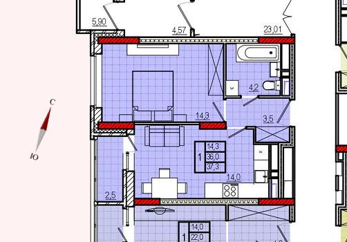 Микрорайон «Центральный», корпус 17, секция 2, квартира 37,3 м2