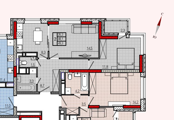 Микрорайон «Центральный», корпус 18, секция 2, квартира 49,3 м2