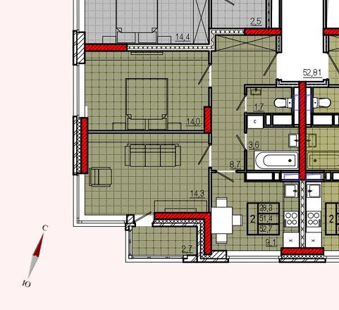 Микрорайон «Центральный», корпус 17, секция 2, квартира 52,7 м2