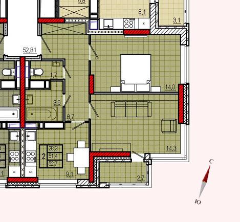 Микрорайон «Центральный», корпус 17, секция 2, квартира 52,7 м2, вариант 2