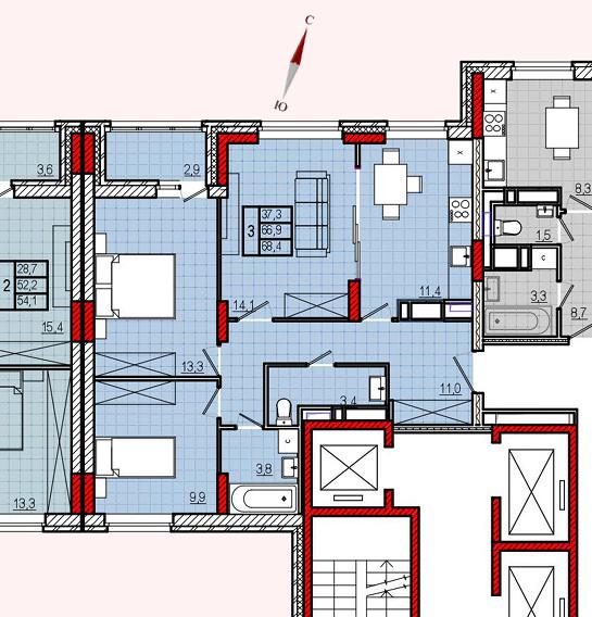 Микрорайон «Центральный», корпус 8, секция 2, квартира 68,4 м2