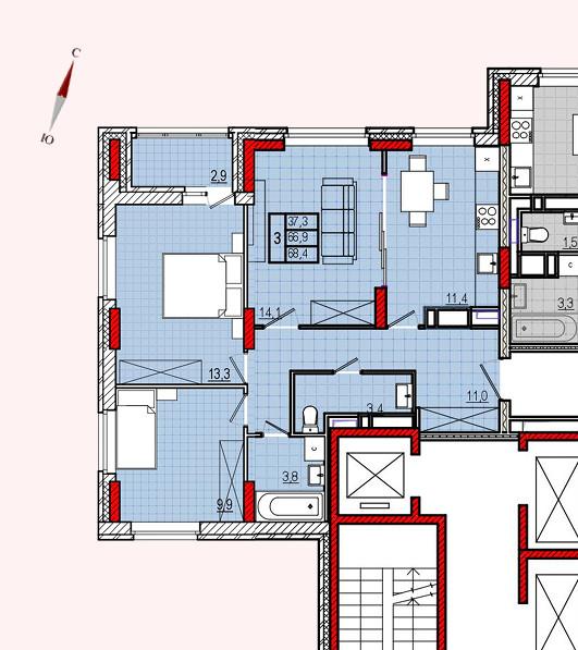 Микрорайон «Центральный», корпус 8, секция 2, квартира 68,4 м2, вариант 2