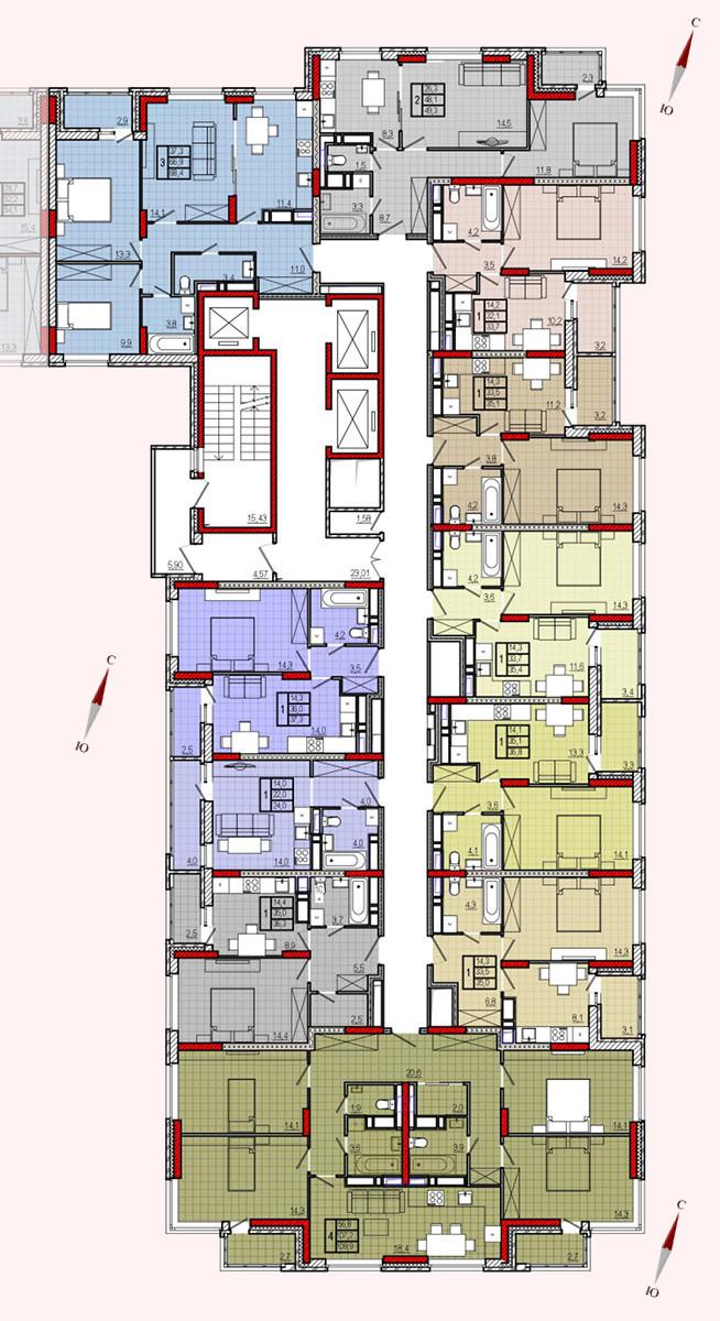 Микрорайон «Центральный», корпус 17, секция 1, этажи 14-21