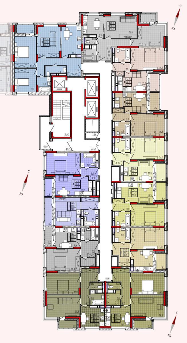 Микрорайон «Центральный», корпус 8, секция 1, этажи 2-19