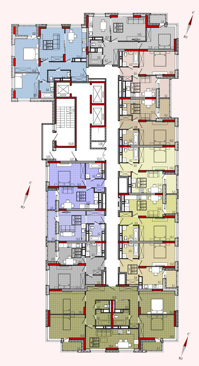 Микрорайон «Центральный», корпус 8, секция 1, этажи 22-25