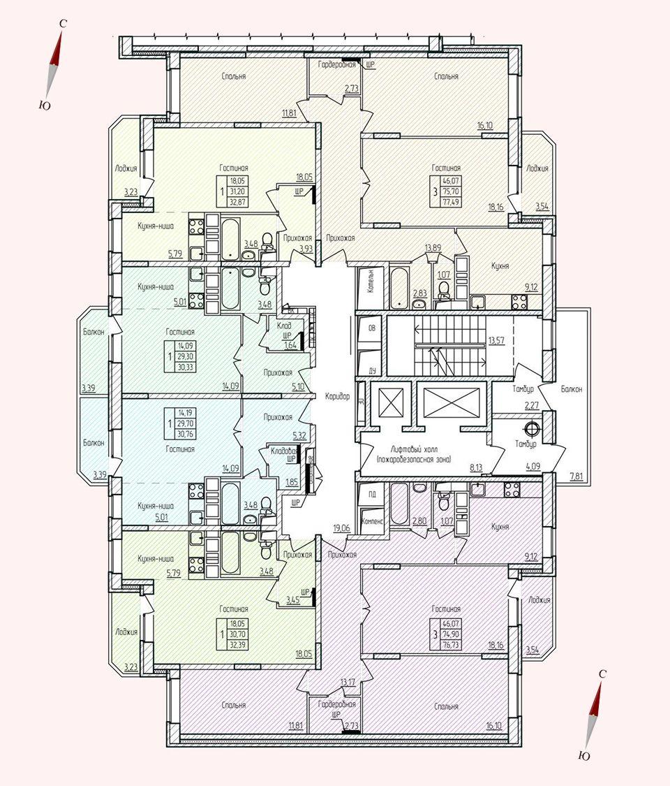 Микрорайон «Хлебниково», корпус 8, секция 1, этаж/этажи 2-17