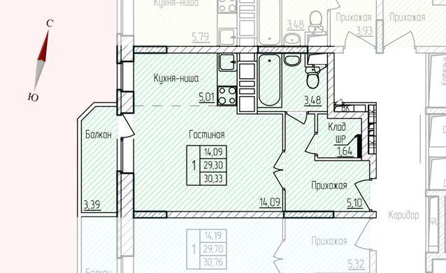 Микрорайон «Хлебниково», корпус 8, секция 1, квартира 30,33 м2