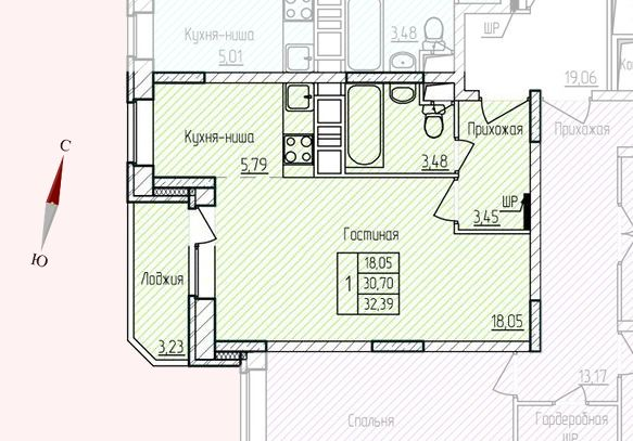Микрорайон «Хлебниково», корпус 8, секция 1, квартира 32,39 м2