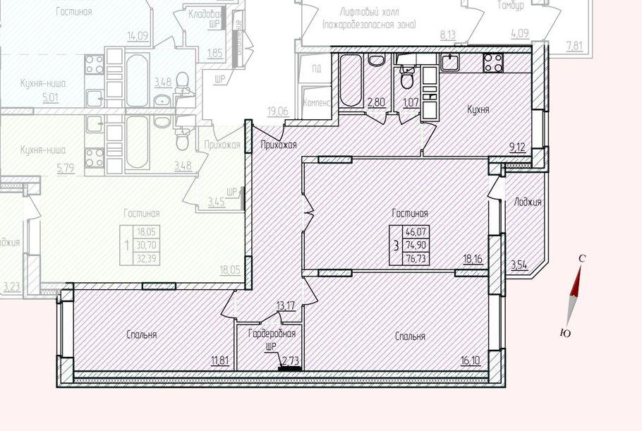 Микрорайон «Хлебниково», корпус 8, секция 1, квартира 76,73 м2