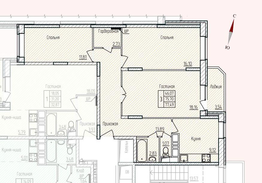 Микрорайон «Хлебниково», корпус 8, секция 1, квартира 77,49 м2