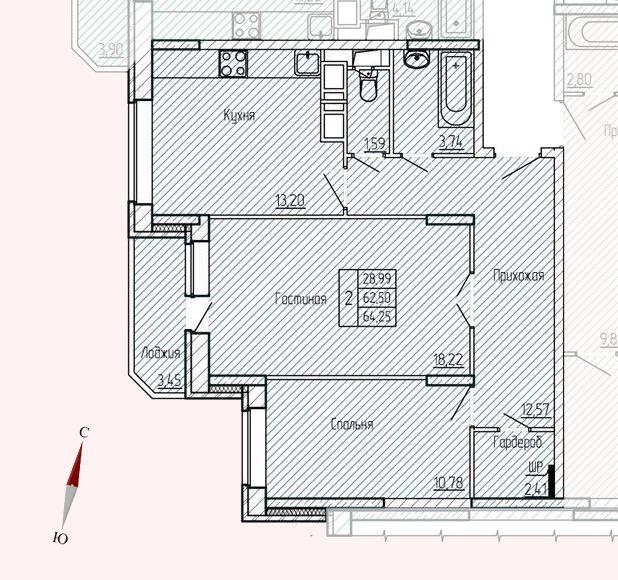 Микрорайон «Хлебниково», корпус 8, секция 2, квартира 64,25 м2