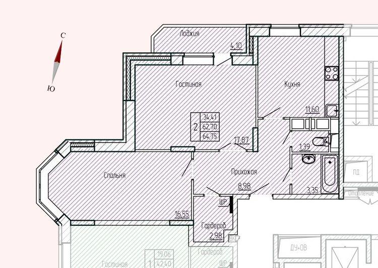 Микрорайон «Хлебниково», корпус 8, секция 2, квартира 64,75 м2