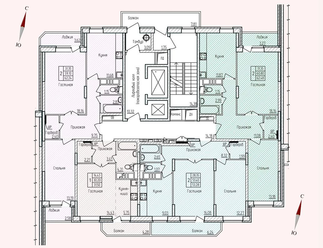 Микрорайон «Хлебниково», корпус 8, секция 3, этаж/этажи 2-17