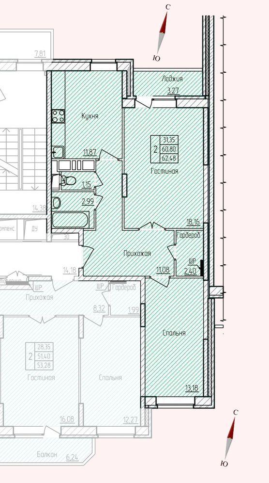 Микрорайон «Хлебниково», корпус 8, секция 3, квартира 62,48 м2