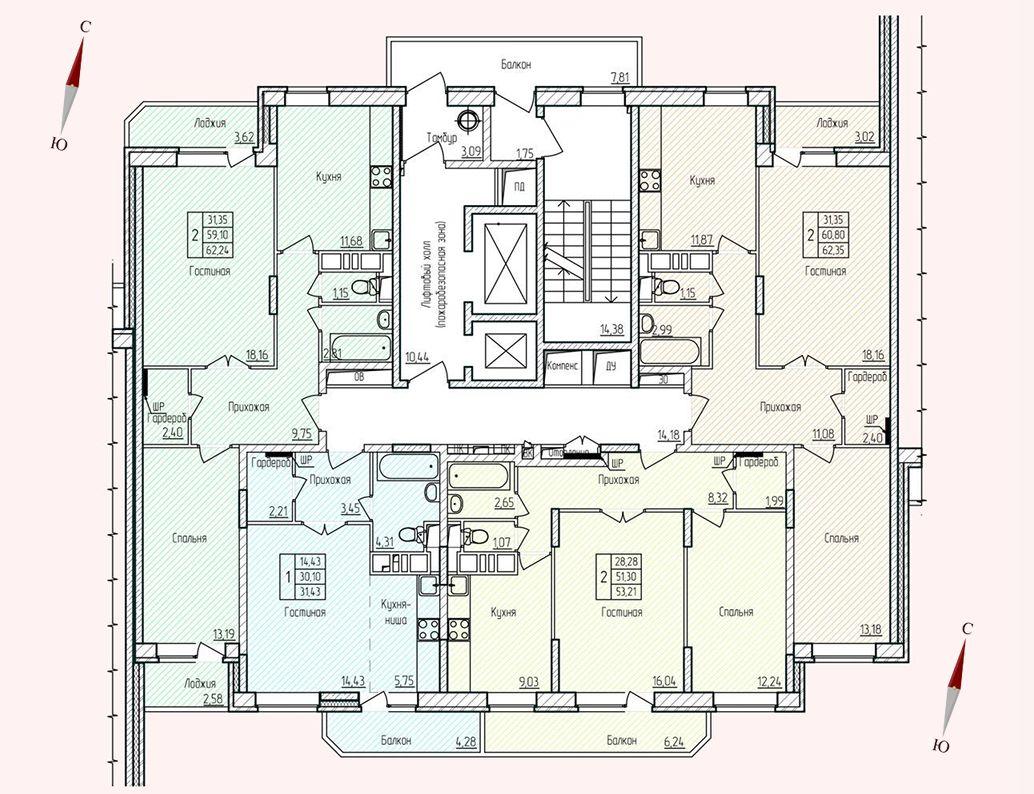 Микрорайон «Хлебниково», корпус 8, секция 4, этаж/этажи 2-17