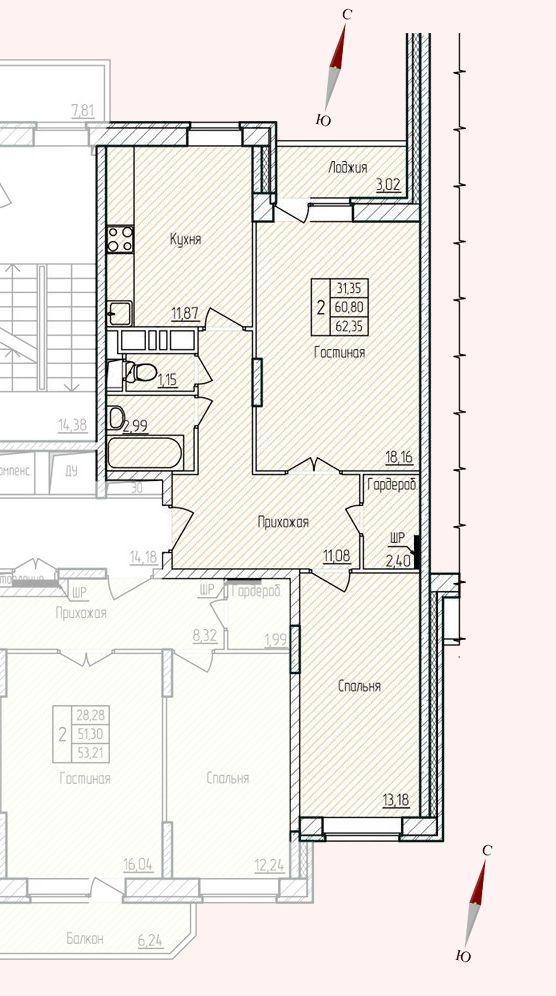 Микрорайон «Хлебниково», корпус 8, секция 4, квартира 62,35 м2