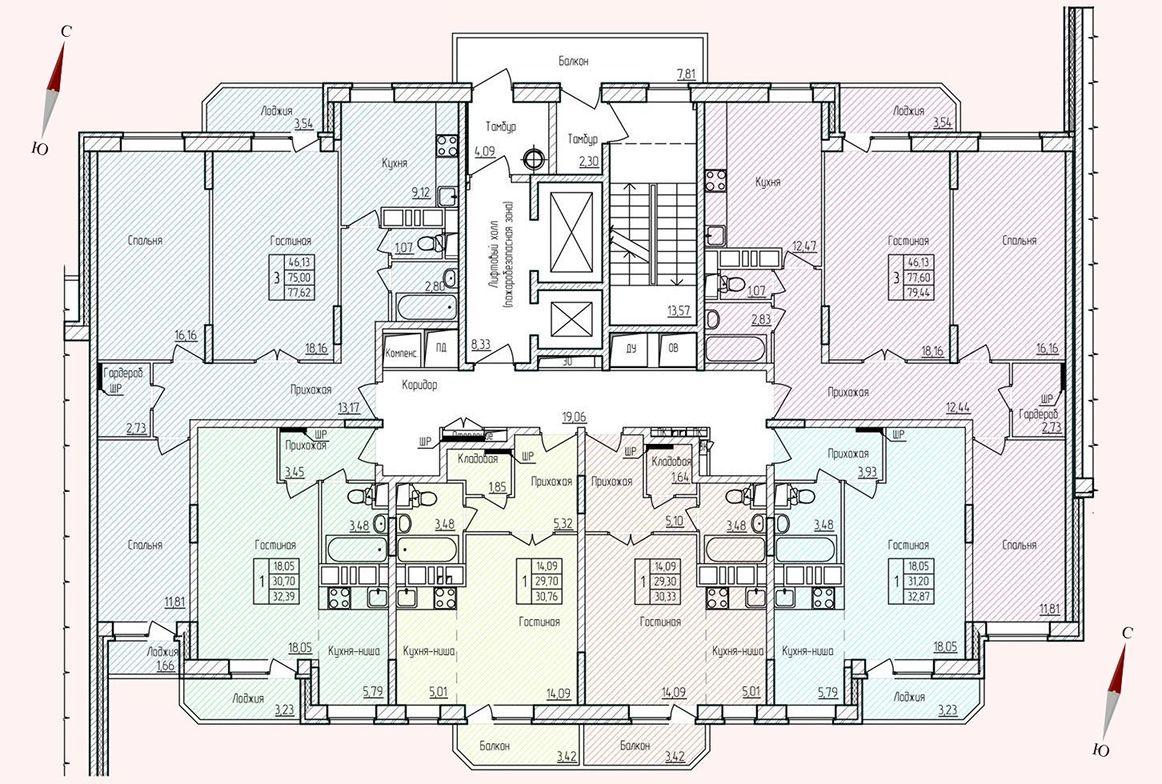 Микрорайон «Хлебниково», корпус 8, секция 5, этаж/этажи 2-15