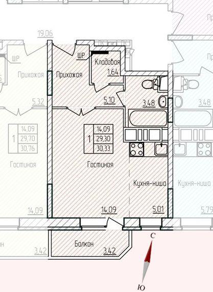 Микрорайон «Хлебниково», корпус 8, секция 5, квартира 30,33 м2