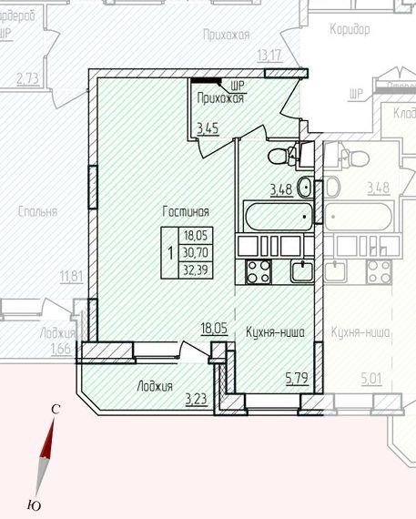 Микрорайон «Хлебниково», корпус 8, секция 5, квартира 32,39 м2