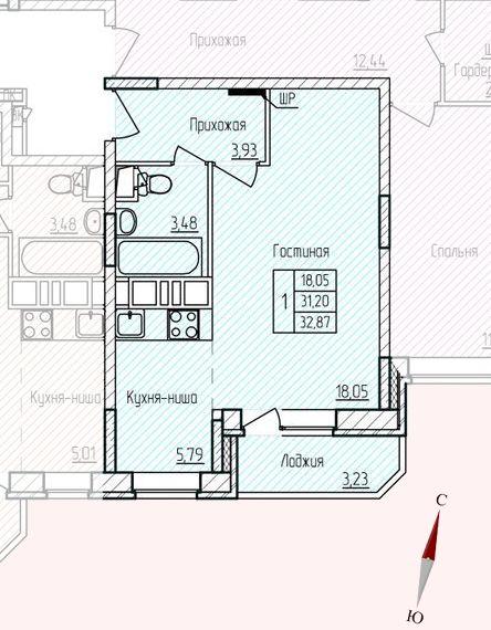 Микрорайон «Хлебниково», корпус 8, секция 5, квартира 32,87 м2