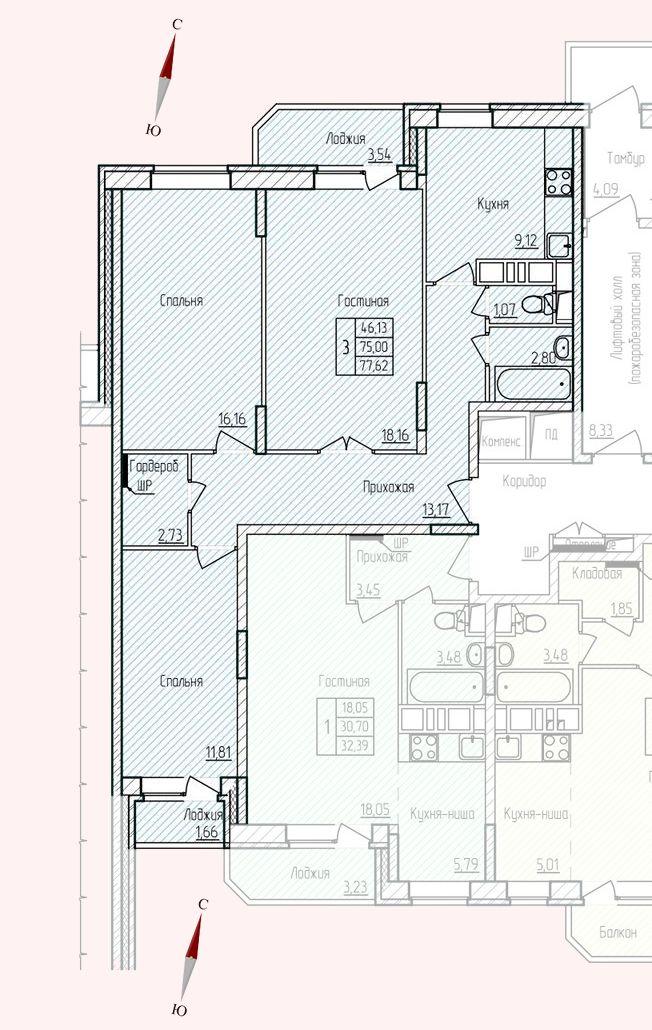 Микрорайон «Хлебниково», корпус 8, секция 5, квартира 77,62 м2