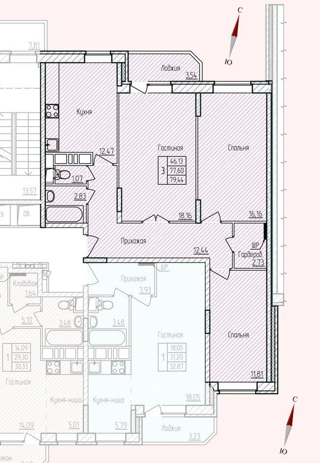 Микрорайон «Хлебниково», корпус 8, секция 5, квартира 79,44 м2