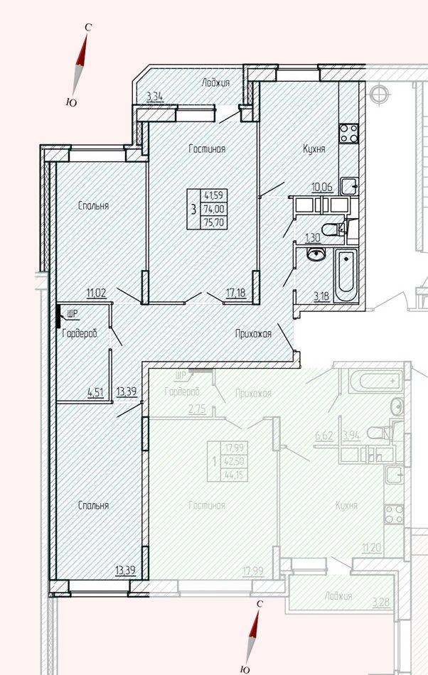 Микрорайон «Хлебниково», корпус 8, секция 6, квартира 75,70 м2