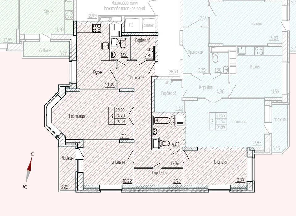 Микрорайон «Хлебниково», корпус 8, секция 6, квартира 76,09 м2