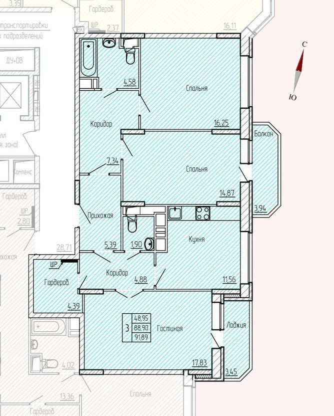 Микрорайон «Хлебниково», корпус 8, секция 6, квартира 91,89 м2