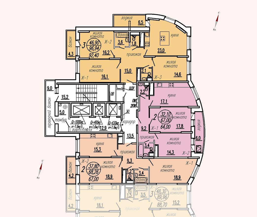 ул. Дирижабельная, д. 1, секция1, этаж/этажи 14-17