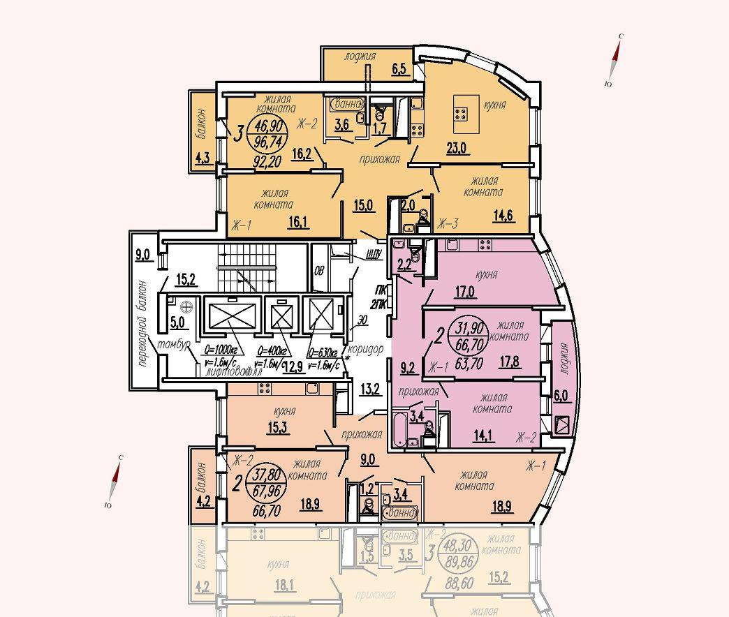 ул. Дирижабельная, д. 1, секция1, этаж/этажи 18-21