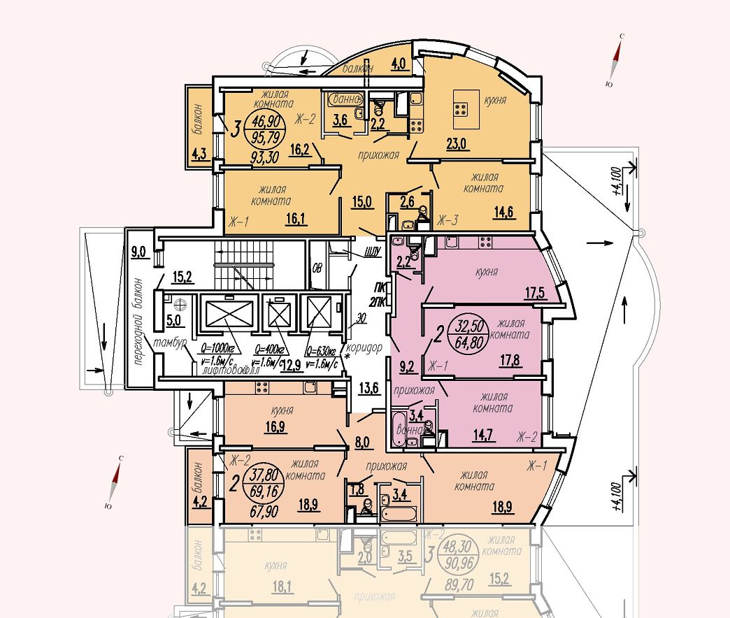 ул. Дирижабельная, д. 1, секция1, этаж/этажи 2