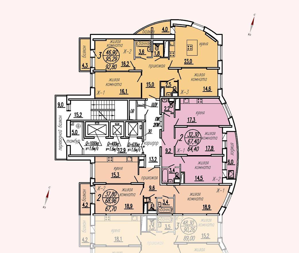 ул. Дирижабельная, д. 1, секция1, этаж/этажи 6-9