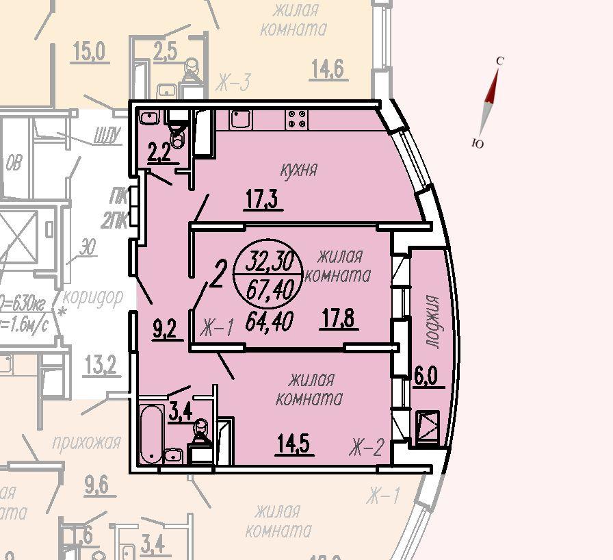 ул. Дирижабельная, д. 1, секция1, квартира 67,40 м2
